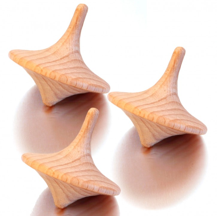 "3x wooden spinning tops ""Tornado"""