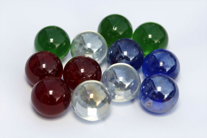 ball set - 5625 12x large marbles: red, green, blue, clear